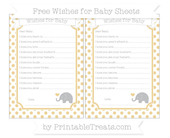 Free Pastel Bright Orange Dotted Pattern Baby Elephant Wishes for Baby Sheets