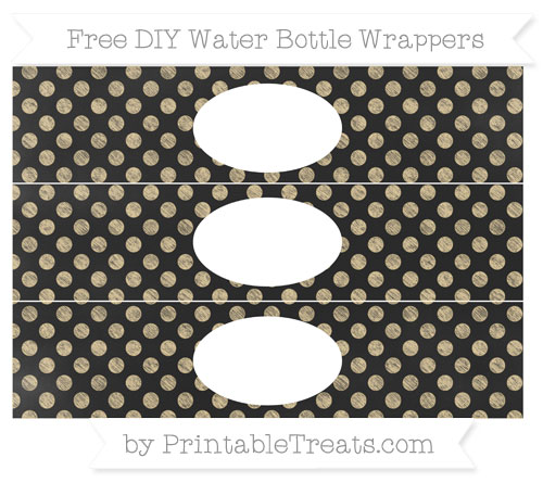 Free Pastel Bright Orange Dotted Pattern Chalk Style DIY Water Bottle Wrappers