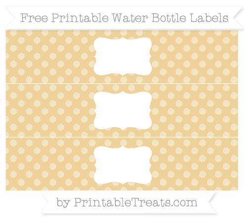 Free Pastel Bright Orange Dotted Pattern Water Bottle Labels