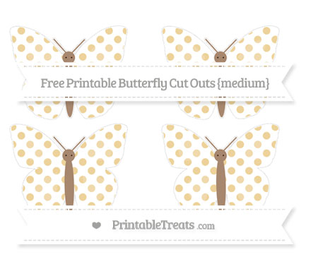 Free Pastel Bright Orange Dotted Pattern Medium Butterfly Cut Outs