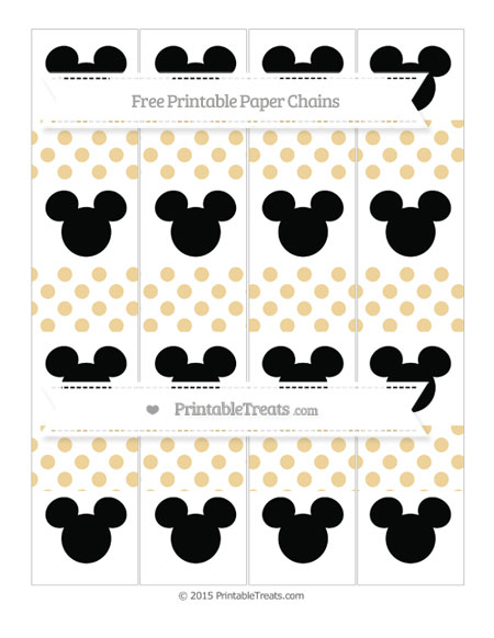 Free Pastel Bright Orange Dotted Pattern Mickey Mouse Paper Chains