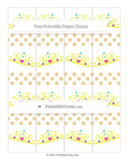 Free Pastel Bright Orange Dotted Pattern Princess Tiara Paper Chains