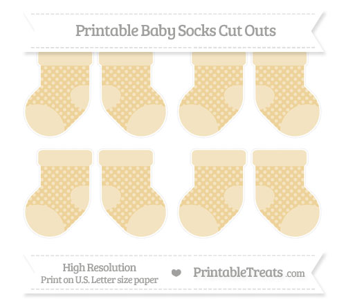 Free Pastel Bright Orange Dotted Pattern Small Baby Socks Cut Outs