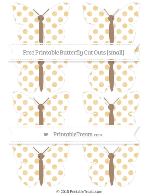 Free Pastel Bright Orange Dotted Pattern Small Butterfly Cut Outs
