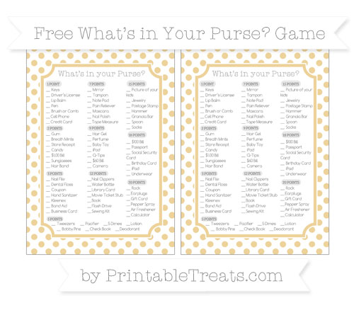 Free Pastel Bright Orange Dotted Pattern What's in Your Purse Baby Shower Game