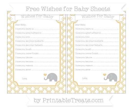 Free Pastel Bright Orange Fish Scale Pattern Baby Elephant Wishes for Baby Sheets