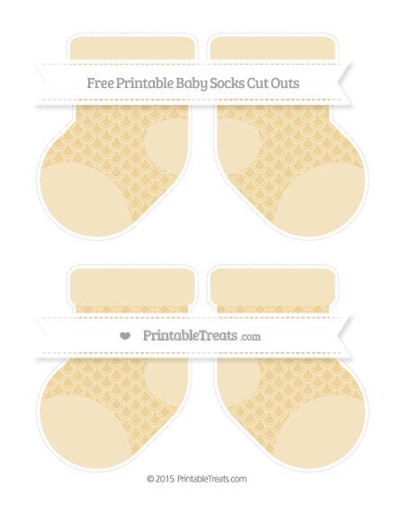 Free Pastel Bright Orange Fish Scale Pattern Medium Baby Socks Cut Outs