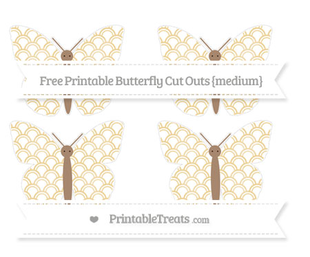 Free Pastel Bright Orange Fish Scale Pattern Medium Butterfly Cut Outs