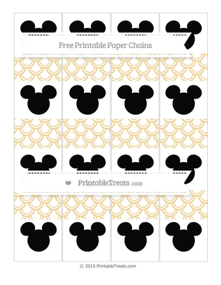 Free Pastel Bright Orange Fish Scale Pattern Mickey Mouse Paper Chains