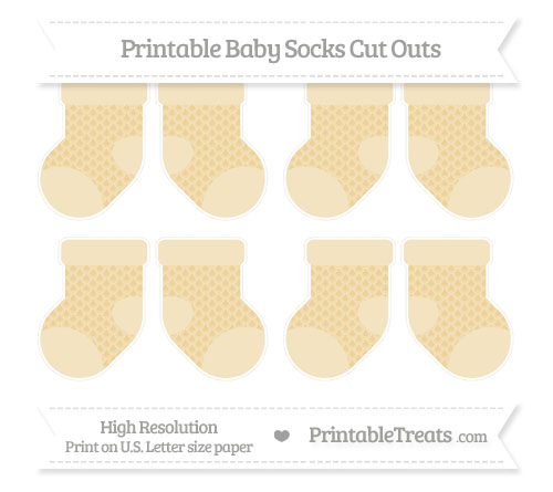 Free Pastel Bright Orange Fish Scale Pattern Small Baby Socks Cut Outs