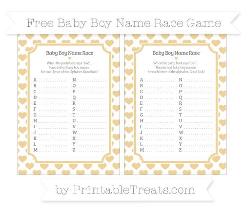 Free Pastel Bright Orange Heart Pattern Baby Boy Name Race Game