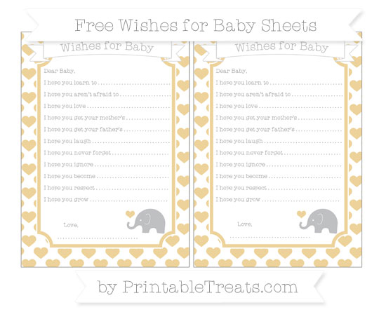 Free Pastel Bright Orange Heart Pattern Baby Elephant Wishes for Baby Sheets