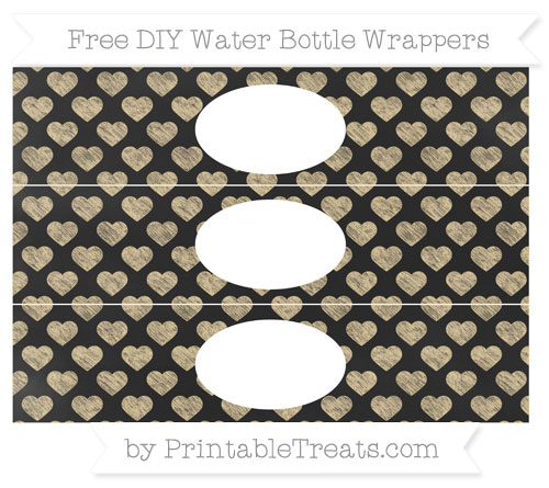 Free Pastel Bright Orange Heart Pattern Chalk Style DIY Water Bottle Wrappers