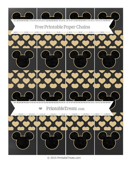 Free Pastel Bright Orange Heart Pattern Chalk Style Mickey Mouse Paper Chains
