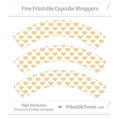 Free Pastel Bright Orange Heart Pattern Cupcake Wrappers