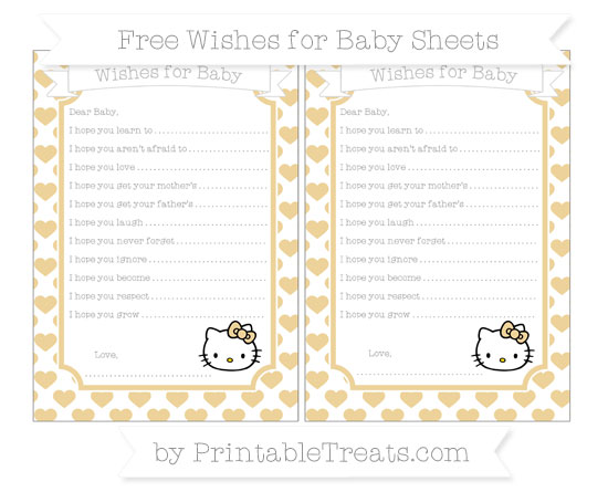 Free Pastel Bright Orange Heart Pattern Hello Kitty Wishes for Baby Sheets
