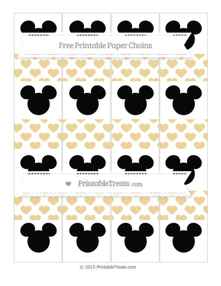 Free Pastel Bright Orange Heart Pattern Mickey Mouse Paper Chains