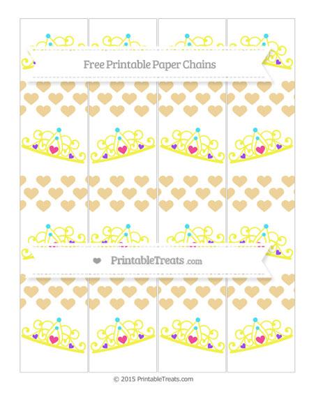 Free Pastel Bright Orange Heart Pattern Princess Tiara Paper Chains