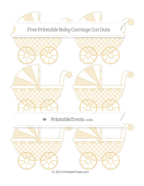 Free Pastel Bright Orange Heart Pattern Small Baby Carriage Cut Outs