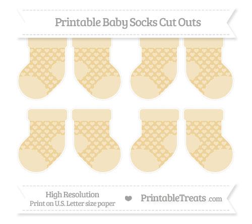 Free Pastel Bright Orange Heart Pattern Small Baby Socks Cut Outs