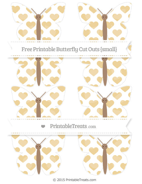 Free Pastel Bright Orange Heart Pattern Small Butterfly Cut Outs