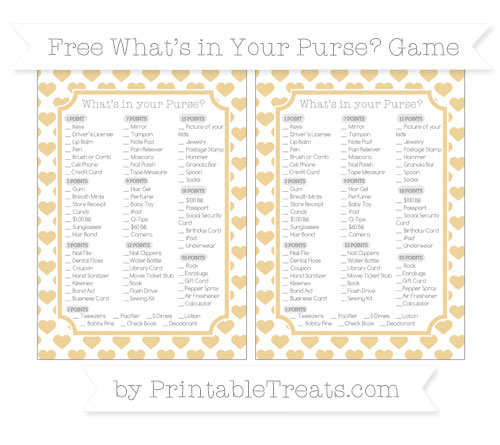 Free Pastel Bright Orange Heart Pattern What's in Your Purse Baby Shower Game