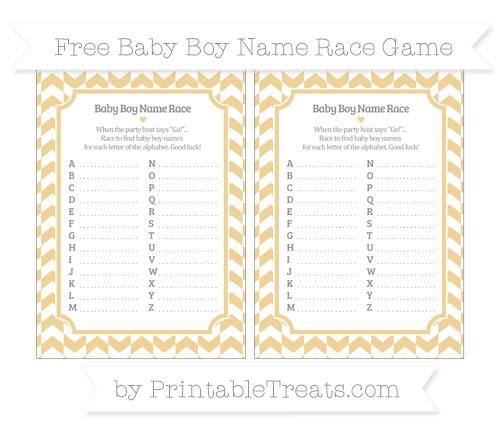 Free Pastel Bright Orange Herringbone Pattern Baby Boy Name Race Game