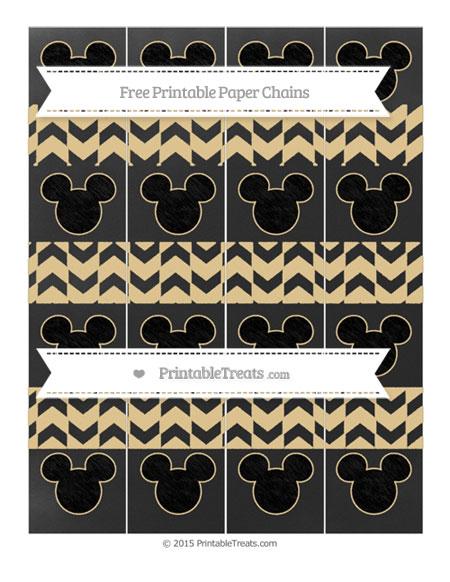 Free Pastel Bright Orange Herringbone Pattern Chalk Style Mickey Mouse Paper Chains