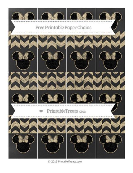 Free Pastel Bright Orange Herringbone Pattern Chalk Style Minnie Mouse Paper Chains