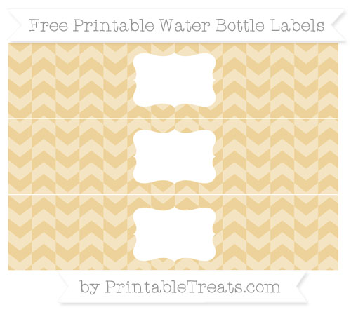 Free Pastel Bright Orange Herringbone Pattern Water Bottle Labels