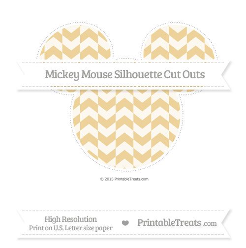 Free Pastel Bright Orange Herringbone Pattern Extra Large Mickey Mouse Silhouette Cut Outs