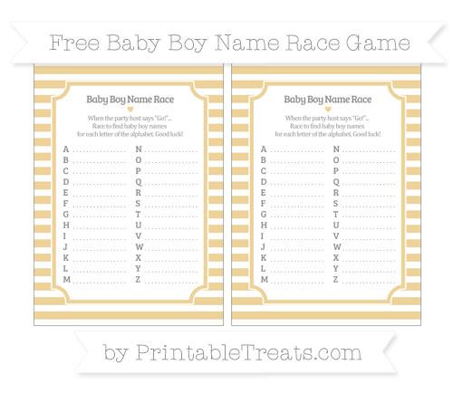 Free Pastel Bright Orange Horizontal Striped Baby Boy Name Race Game