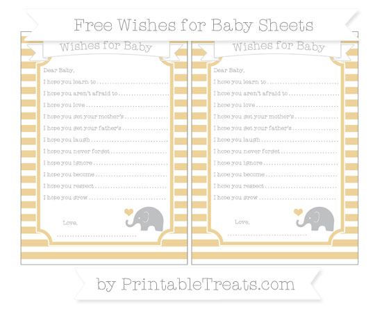 Free Pastel Bright Orange Horizontal Striped Baby Elephant Wishes for Baby Sheets