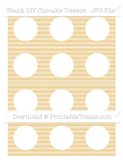 Free Pastel Bright Orange Horizontal Striped Blank DIY Cupcake Toppers