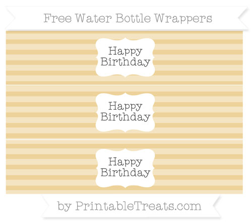 Free Pastel Bright Orange Horizontal Striped Happy Birhtday Water Bottle Wrappers