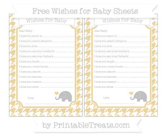 Free Pastel Bright Orange Houndstooth Pattern Baby Elephant Wishes for Baby Sheets