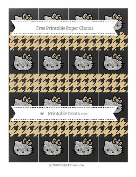 Free Pastel Bright Orange Houndstooth Pattern Chalk Style Hello Kitty Paper Chains