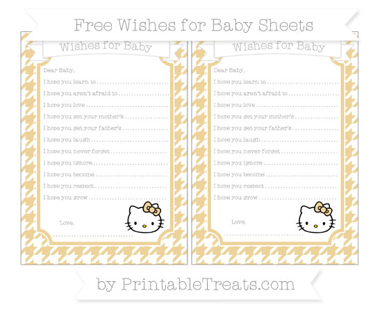 Free Pastel Bright Orange Houndstooth Pattern Hello Kitty Wishes for Baby Sheets