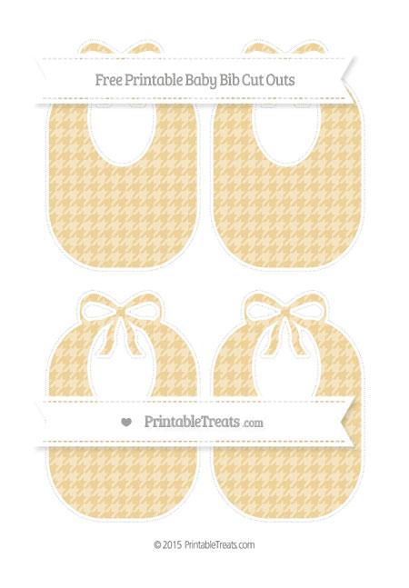 Free Pastel Bright Orange Houndstooth Pattern Medium Baby Bib Cut Outs