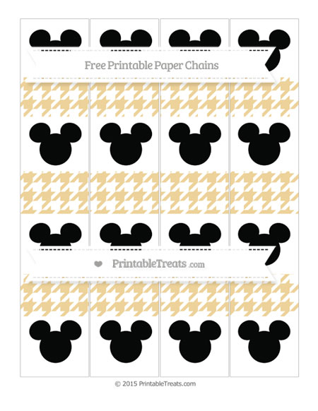 Free Pastel Bright Orange Houndstooth Pattern Mickey Mouse Paper Chains