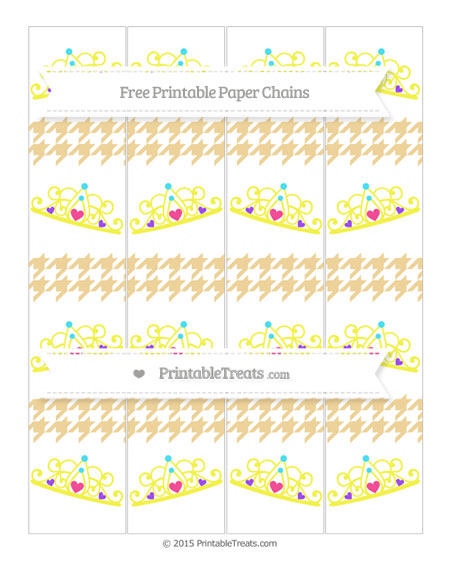 Free Pastel Bright Orange Houndstooth Pattern Princess Tiara Paper Chains
