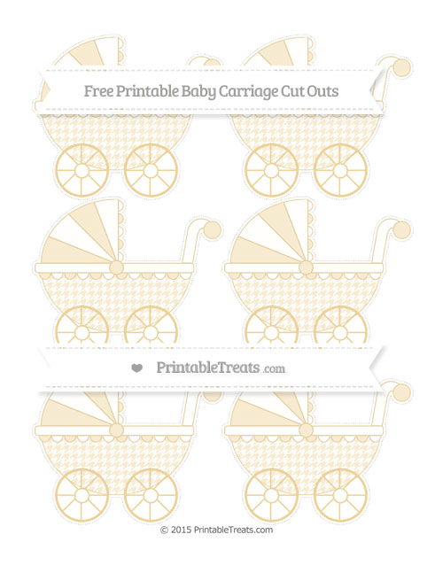 Free Pastel Bright Orange Houndstooth Pattern Small Baby Carriage Cut Outs