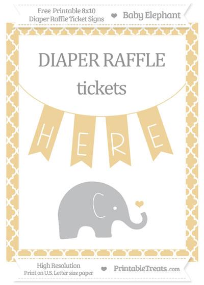 Free Pastel Bright Orange Moroccan Tile Baby Elephant 8x10 Diaper Raffle Ticket Sign