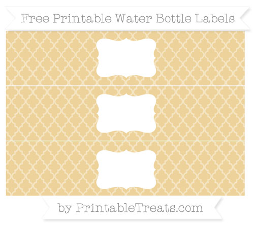 Free Pastel Bright Orange Moroccan Tile Water Bottle Labels