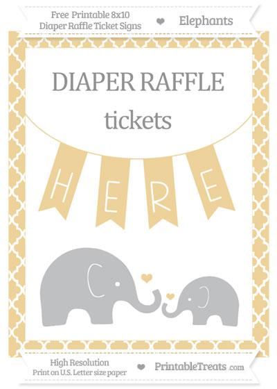 Free Pastel Bright Orange Moroccan Tile Elephant 8x10 Diaper Raffle Ticket Sign