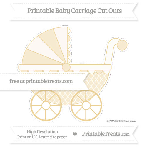 Free Pastel Bright Orange Moroccan Tile Extra Large Baby Carriage Cut Outs