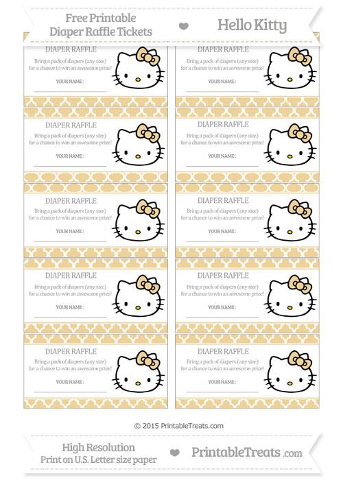 Free Pastel Bright Orange Moroccan Tile Hello Kitty Diaper Raffle Tickets