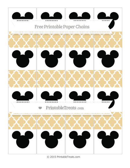 Free Pastel Bright Orange Moroccan Tile Mickey Mouse Paper Chains