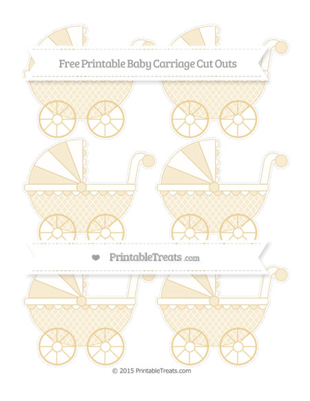 Free Pastel Bright Orange Moroccan Tile Small Baby Carriage Cut Outs