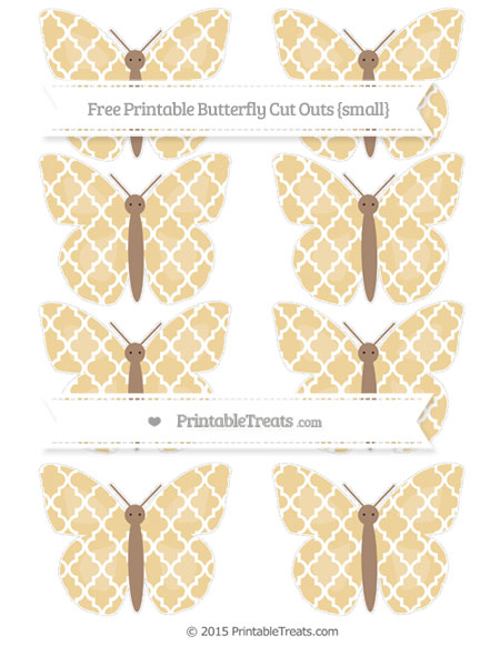 Free Pastel Bright Orange Moroccan Tile Small Butterfly Cut Outs